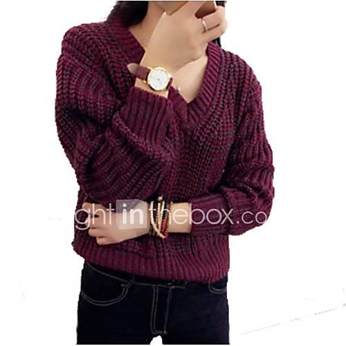 dames-casual-dagelijks-vakantie-eenvoudig-schattig-kort-pullover-effen-rood-bruin-grijs-v-hals-lange-mouw-acryl-herfst-winter-dik-rekbaar