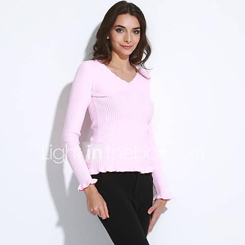 dames-casual-dagelijks-eenvoudig-normaal-kasjmier-effen-roze-rood-wit-zwart-grijs-groen-v-hals-lange-mouw-polyester-herfst-medium-rekbaar
