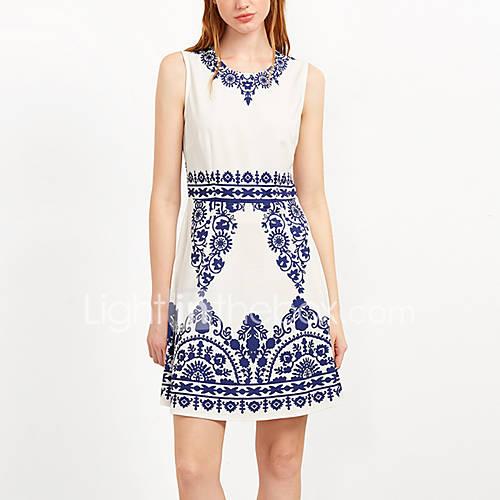 dames-casual-dagelijks-feestjecocktail-vintage-street-chic-schede-jurk-print-ronde-hals-boven-de-knie-mouwloos-blauw-rayon-polyester