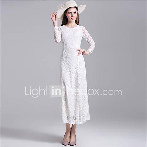 ronde-hals-polyester-overige-kant-blote-rug-maxi-vrouwen-jurk-lange-mouw