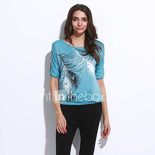 vrouwen-sexy-street-chic-zomer-t-shirt-casual-dagelijks-bloemen-ronde-hals-korte-mouw-blauw-roze-rood-groen-katoen-polyester-dun