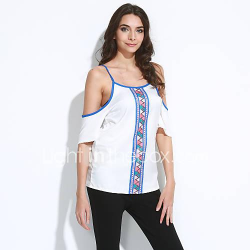 vrouwen-sexy-zomer-t-shirt-uitgaan-print-ronde-hals-korte-mouw-wit-polyester-medium
