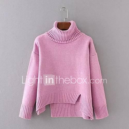 dames-uitgaan-casual-dagelijks-eenvoudig-street-chic-normaal-pullover-effen-roze-grijs-geel-overhemdkraag-lange-mouw-acryl-polyester