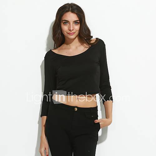 Vrouwen Sexy / Eenvoudig Zomer T-shirt,Casual/Dagelijks Effen Driekwart mouw Zwart Polyester Dun