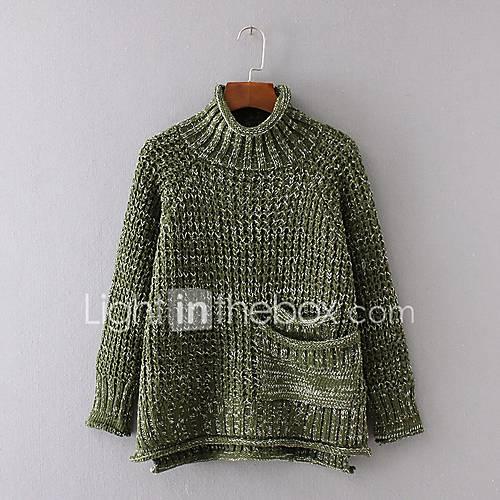 dames-uitgaan-casual-dagelijks-eenvoudig-street-chic-normaal-pullover-kleurenblok-zwart-bruin-grijs-groen-coltrui-lange-mouw-acryl
