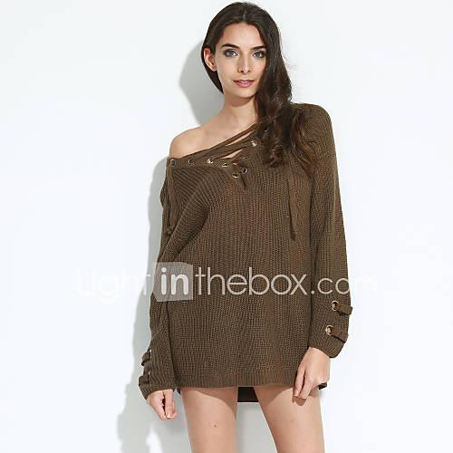 dames-casual-dagelijks-uitgaan-eenvoudig-street-chic-normaal-pullover-effen-beige-bruin-groen-v-hals-lange-mouw-rayon-modaal-herfst-winter