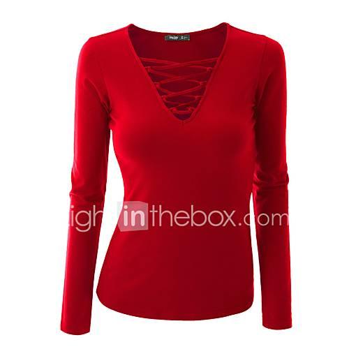 dames-uitgaan-casual-dagelijks-grote-maten-sexy-eenvoudig-street-chic-normaal-pullover-effen-blauw-roze-rood-wit-zwart-bruin-grijs-groen