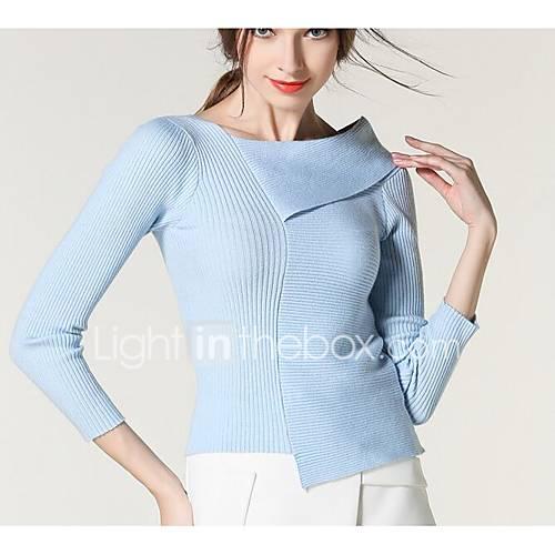 dames-uitgaan-eenvoudig-street-chic-normaal-pullover-effen-blauw-wit-zwart-overhemdkraag-lange-mouw-polyester-lente-herfst-medium