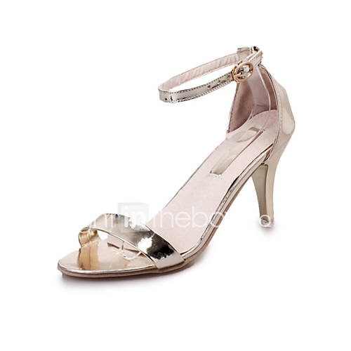 Women's Sandals Comfort PU Summer Casual Walking Comfort Buckle Stiletto Heel Gold Silver 2in-2 3/4in