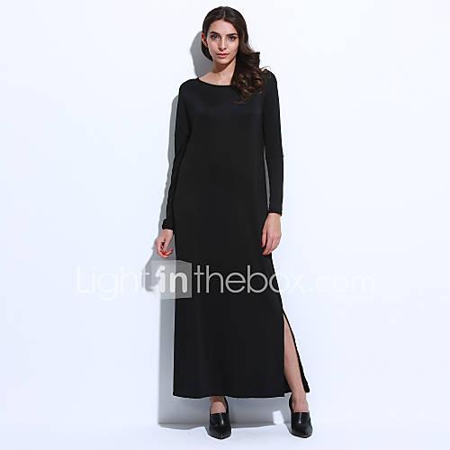 vrouwen-casual-dagelijks-eenvoudig-a-lijn-jurk-effen-een-schouder-wijde-boothals-maxi-lange-mouw-blauw-zwart-grijs-geel-katoen