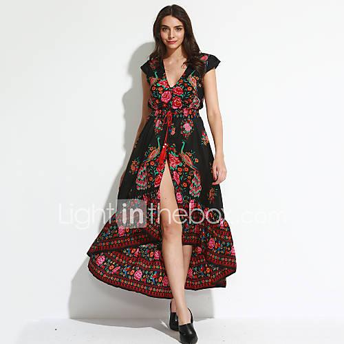 dames-uitgaan-strand-vintage-wijd-uitlopend-jurk-bloemen-diepe-v-hals-maxi-korte-mouw-zwart-polyester-zomer-herfst-medium-taille