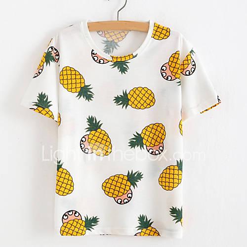 vrouwen-eenvoudig-zomer-t-shirt-casual-dagelijks-print-ronde-hals-korte-mouw-rood-wit-geel-polyester-ondoorzichtig