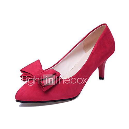 Women's Heels PU Spring Summer Casual Bowknot Stiletto Heel Black Purple Fuchsia Ruby 4in-4 3/4in