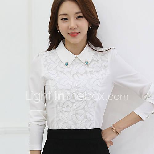 vrouwen-grote-maten-alle-seizoenen-blouse-casual-dagelijks-effen-overhemdkraag-lange-mouw-wit-polyester-medium