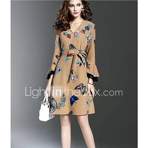 dames-casual-dagelijks-sexy-a-lijn-jurk-bloemen-v-hals-midi-lange-mouw-zwart-bruin-rayon-herfst-medium-taille-micro-elastisch-medium