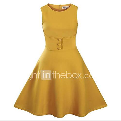 dames-casual-dagelijks-eenvoudig-wijd-uitlopend-jurk-effen-ronde-hals-tot-de-knie-mouwloos-blauw-zwart-groen-geel-katoen-zomer-medium
