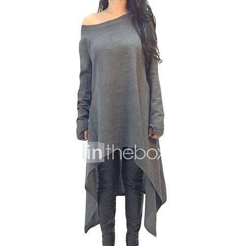 dames-eenvoudig-actief-herfst-winter-t-shirt-casual-dagelijks-sportief-effen-boothals-lange-mouw-rood-zwart-grijs-polyester-spandex-medium