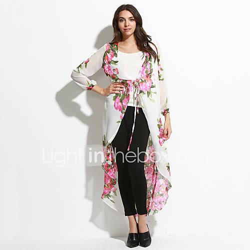 vrouwen-uitgaan-boho-wijd-uitlopend-jurk-bloemen-diepe-v-hals-maxi-lange-mouw-wit-polyester-zomer