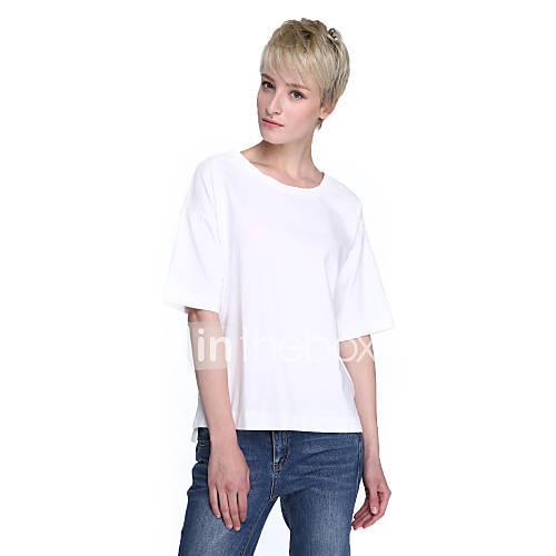 Vrouwen Eenvoudig / Street chic T-shirt,Uitgaan Effen Ronde hals Halflange mouw Blauw / Roze / Wit / Groen Katoen Medium