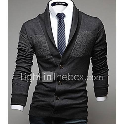 heren-casual-dagelijks-eenvoudig-normaal-vest-effen-blauw-rood-zwart-grijs-overhemdkraag-lange-mouw-katoen-lente-herfst-medium