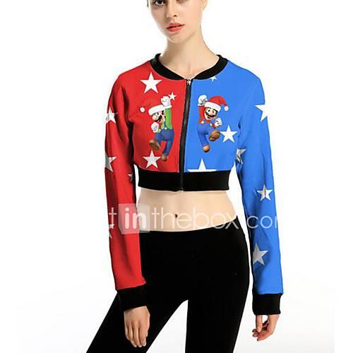 dames-eenvoudig-actief-herfst-winter-overhemd-casual-dagelijks-print-ronde-hals-lange-mouw-blauw-rood-rayon-medium