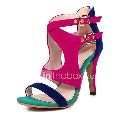 Women's Sandals Spring Summer Fall Fleece Casual Party  Evening Stiletto Heel Black Red Blue