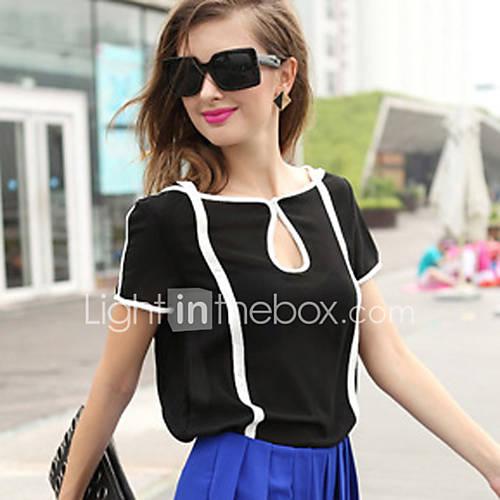 dames-eenvoudig-schattig-lente-zomer-blouse-casual-dagelijks-kleurenblok-boothals-korte-mouw-wit-zwart-polyester-dun-doorschijnend