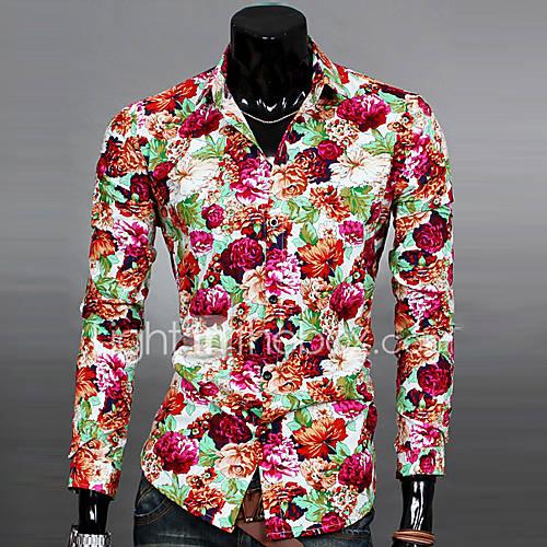 heren-eenvoudig-street-chic-lente-herfst-overhemd-uitgaan-casual-dagelijks-werk-bloemen-klassieke-boord-lange-mouw-blauw-zwart-geel-katoen