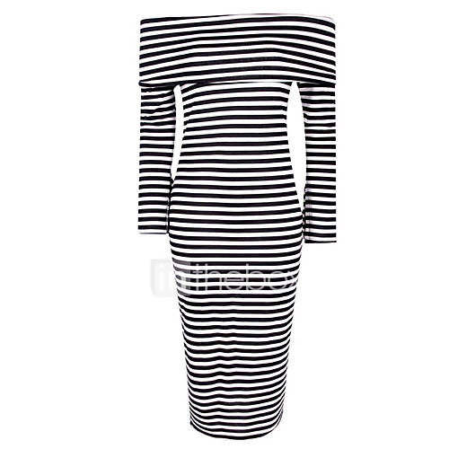 dames-uitgaan-casual-dagelijks-sexy-street-chic-bodycon-jurk-gestreept-boothals-midi-lange-mouw-zwart-polyester-lente-herfst-medium-taille
