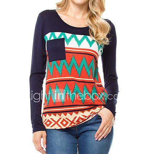 dames-eenvoudig-street-chic-lente-herfst-t-shirt-uitgaan-casual-dagelijks-gestreept-ronde-hals-lange-mouw-oranje-polyester