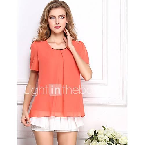 dames-eenvoudig-lente-zomer-blouse-casual-dagelijks-effen-ronde-hals-korte-mouw-blauw-roze-rood-wit-beige-zwart-groen-geel-polyester