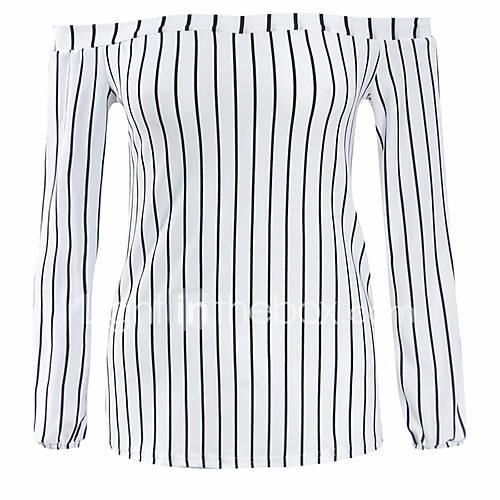 dames-sexy-eenvoudig-street-chic-zomer-herfst-t-shirt-vakantie-uitgaan-casual-dagelijks-gestreept-boothals-lange-mouw-wit-polyester