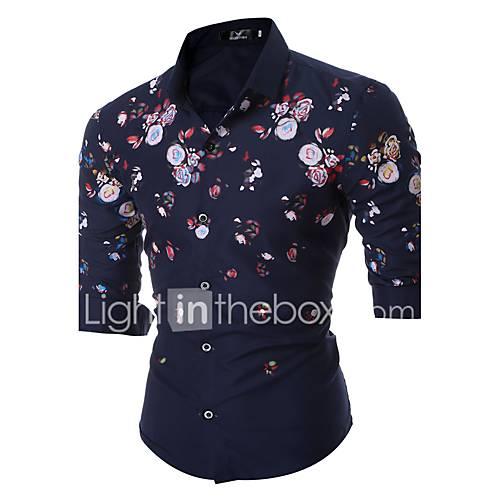 heren-eenvoudig-street-chic-lente-herfst-overhemd-uitgaan-casual-dagelijks-werk-bloemen-klassieke-boord-lange-mouw-blauw-zwart-katoen