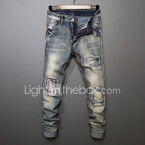 Homme simple Taille Normale Micro-??lastique Jeans Pantalon,Droite Couleur Pleine