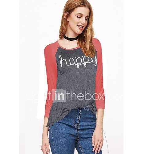 dames-eenvoudig-herfst-winter-t-shirt-casual-dagelijks-patchwork-ronde-hals-lange-mouw-rood-wit-katoen-polyester-medium