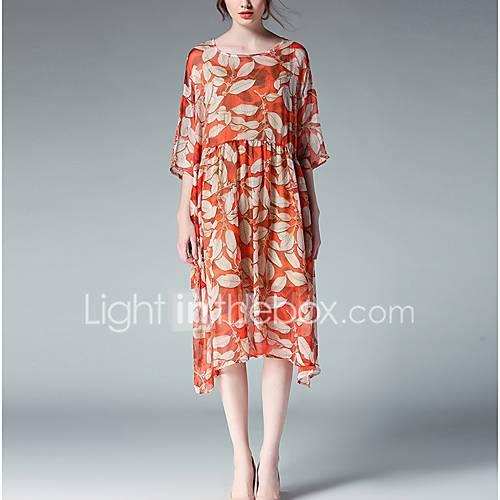 dames-grote-maten-uitgaan-vakantie-vintage-eenvoudig-schattig-ruimvallend-chiffon-jurk-print-ronde-hals-midi-driekwart-mouw-oranje