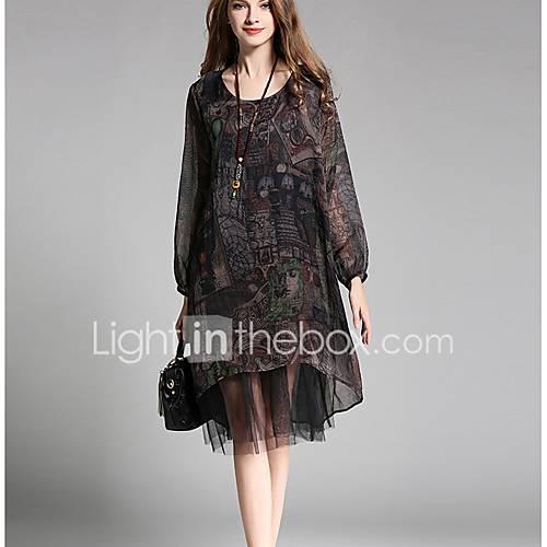 dames-uitgaan-strand-grote-maten-sexy-vintage-schattig-ruimvallend-chiffon-jurk-print-ronde-hals-tot-de-knie-lange-mouw-zwart-groen