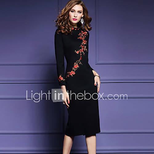 Mujer Corte Bodycon Vestido Noche Tallas Grandes Tejido Oriental,Bordado Escote Redondo Midi Manga Larga Negro Poliéster Primavera Otoño