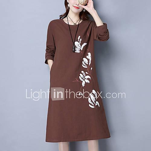 dames-casual-dagelijks-street-chic-ruimvallend-jurk-print-ronde-hals-midi-lange-mouw-bruin-grijs-katoen-linnen-lente-herfst-medium-taille