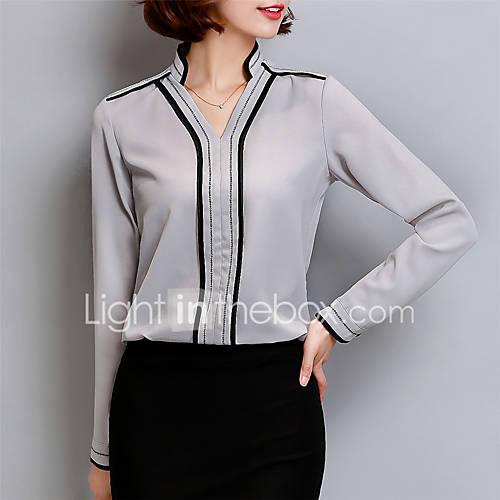 dames-street-chic-lente-herfst-blouse-casual-dagelijks-grote-maten-effen-v-hals-lange-mouw-wit-grijs-polyester-medium