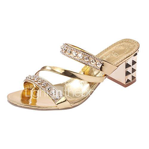Women's Shoes PU Spring Summer Comfort Heels Low Heel Rivet for Casual Gold Silver