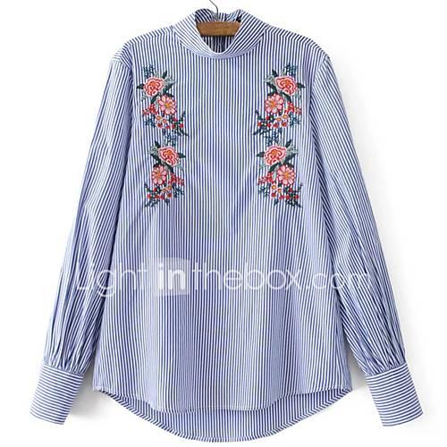 dames-schattig-chinoiserie-lente-overhemd-casual-dagelijks-vakantie-uitgaan-geborduurd-ronde-hals-lange-mouw-blauw-katoen-polyester-dun