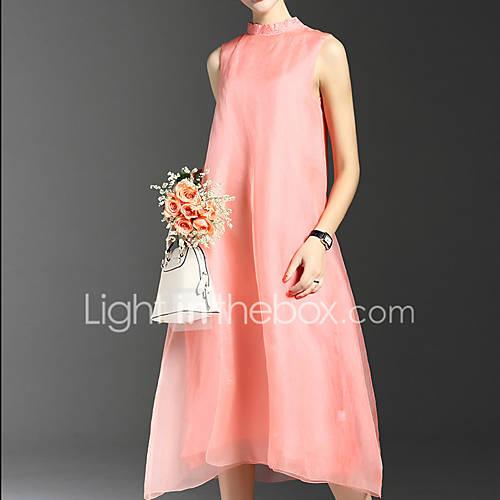 dames-casual-dagelijks-eenvoudig-ruimvallend-jurk-effen-opstaand-midi-mouwloos-blauw-roze-polyester-lente-zomer-medium-taille-inelastisch