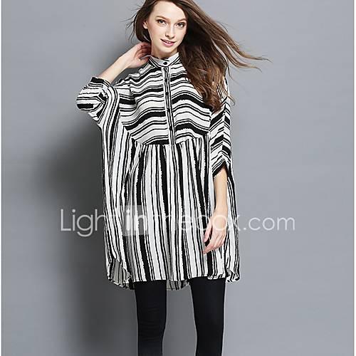dames-uitgaan-strand-grote-maten-vintage-eenvoudig-schattig-ruimvallend-jurk-gestreept-opstaand-boven-de-knie-driekwart-mouw-wit-zwart