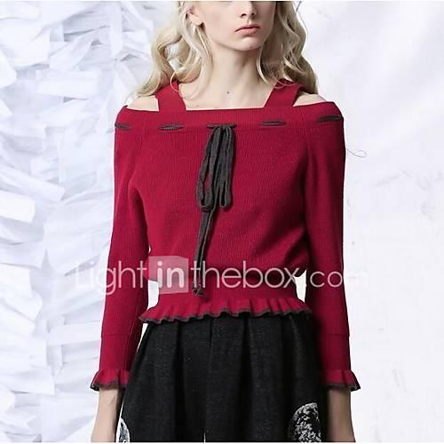 dames-casual-dagelijks-vintage-normaal-pullover-effen-rood-zwart-boothals-lange-mouw-polyester-lente-winter-medium-micro-elastisch