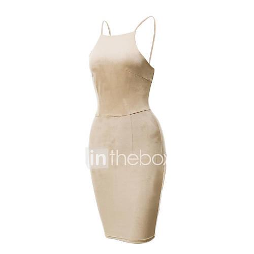 dames-club-sexy-bodycon-jurk-effen-bandje-mini-mouwloos-rood-zwart-groen-overige-zomer-medium-taille-micro-elastisch-medium