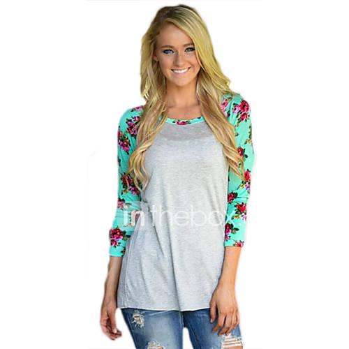 dames-eenvoudig-street-chic-lente-herfst-t-shirt-uitgaan-casual-dagelijks-bloemen-ronde-hals-lange-mouw-zwart-grijs-polyester