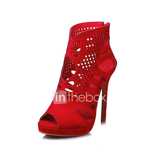 Women's Sandals Spring Summer Fall Fleece Dress Casual Party  Evening Stiletto Heel Black Red