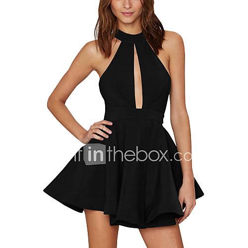 dames-club-sexy-ruimvallend-jurk-effen-halter-boven-de-knie-mouwloos-blauw-rood-zwart-polyester-zomer-medium-taille-micro-elastisch-medium