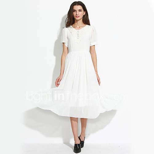 vrouwen-casual-dagelijks-vintage-schattig-a-lijn-wijd-uitlopend-jurk-effen-ronde-hals-midi-korte-mouw-wit-katoen-polyester-overige